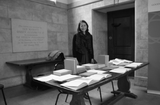 Elizabeth Sharrett, manning the Malone Society table at the Great Hall, Goodenough College, March 2013.